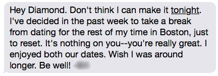 Wait wait wait wait–hold up. Come again? Didn't he tell me just a week ago that he couldn't wait to see me? Am I missing something or nah?