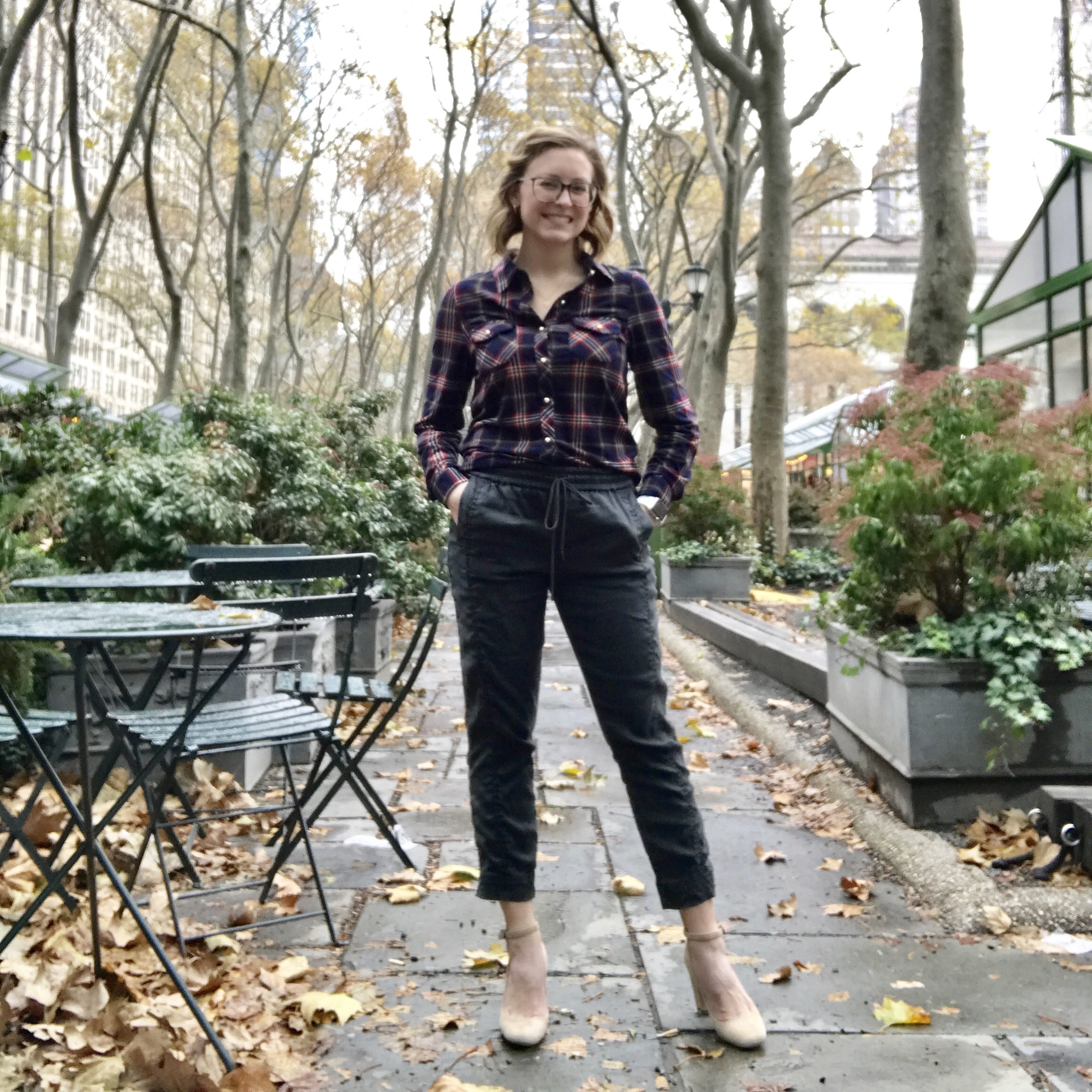 December 5:  Papermoon plaid button down, Level 99 joggers, Via Spiga heels