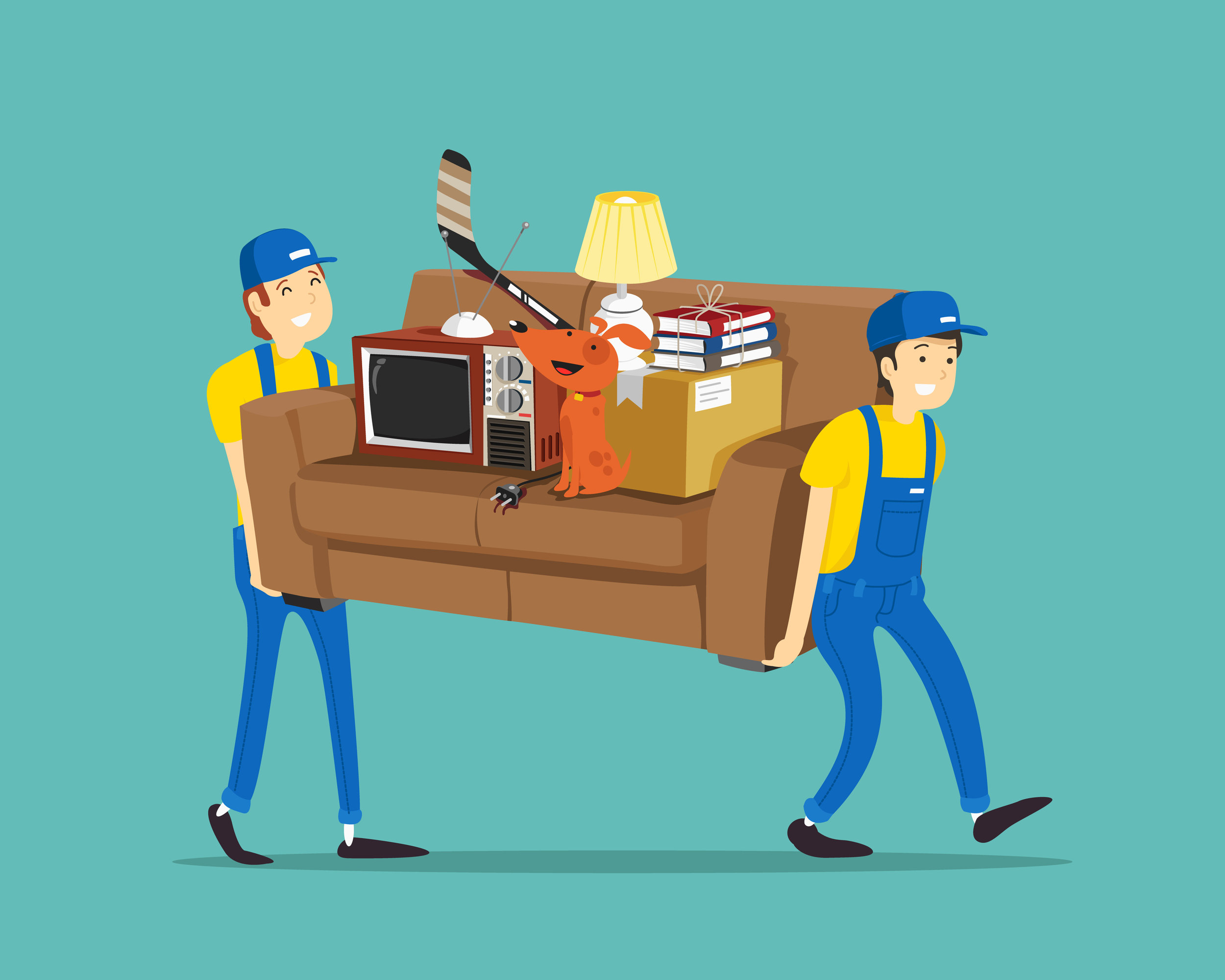 Movers using a couch to move other items to save on boxes/supplies