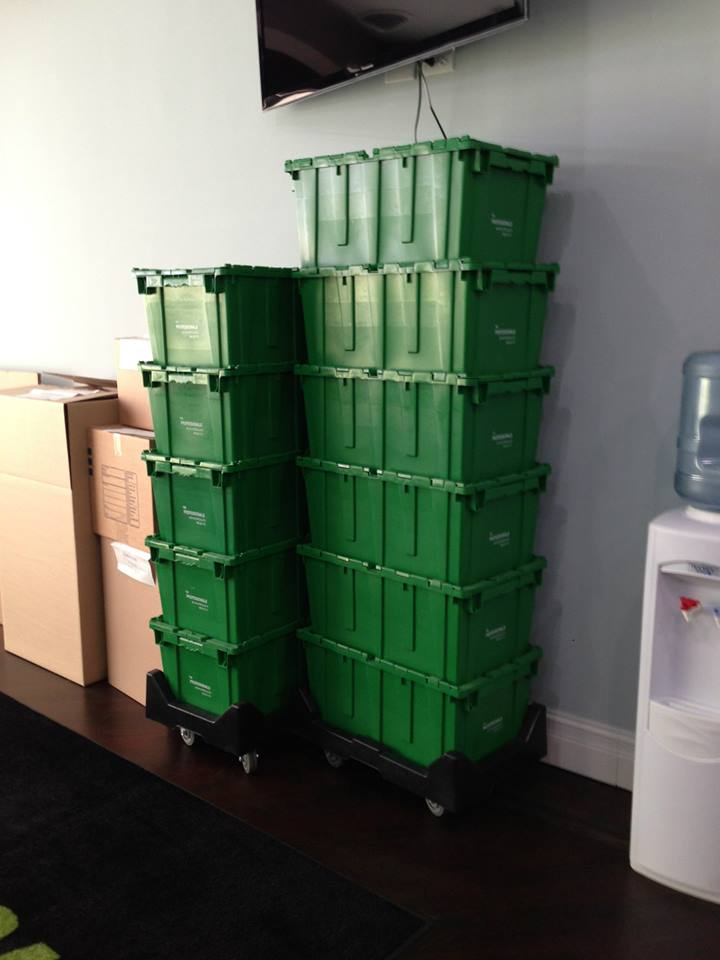 stackable eco-friendly moving boxes on dollys