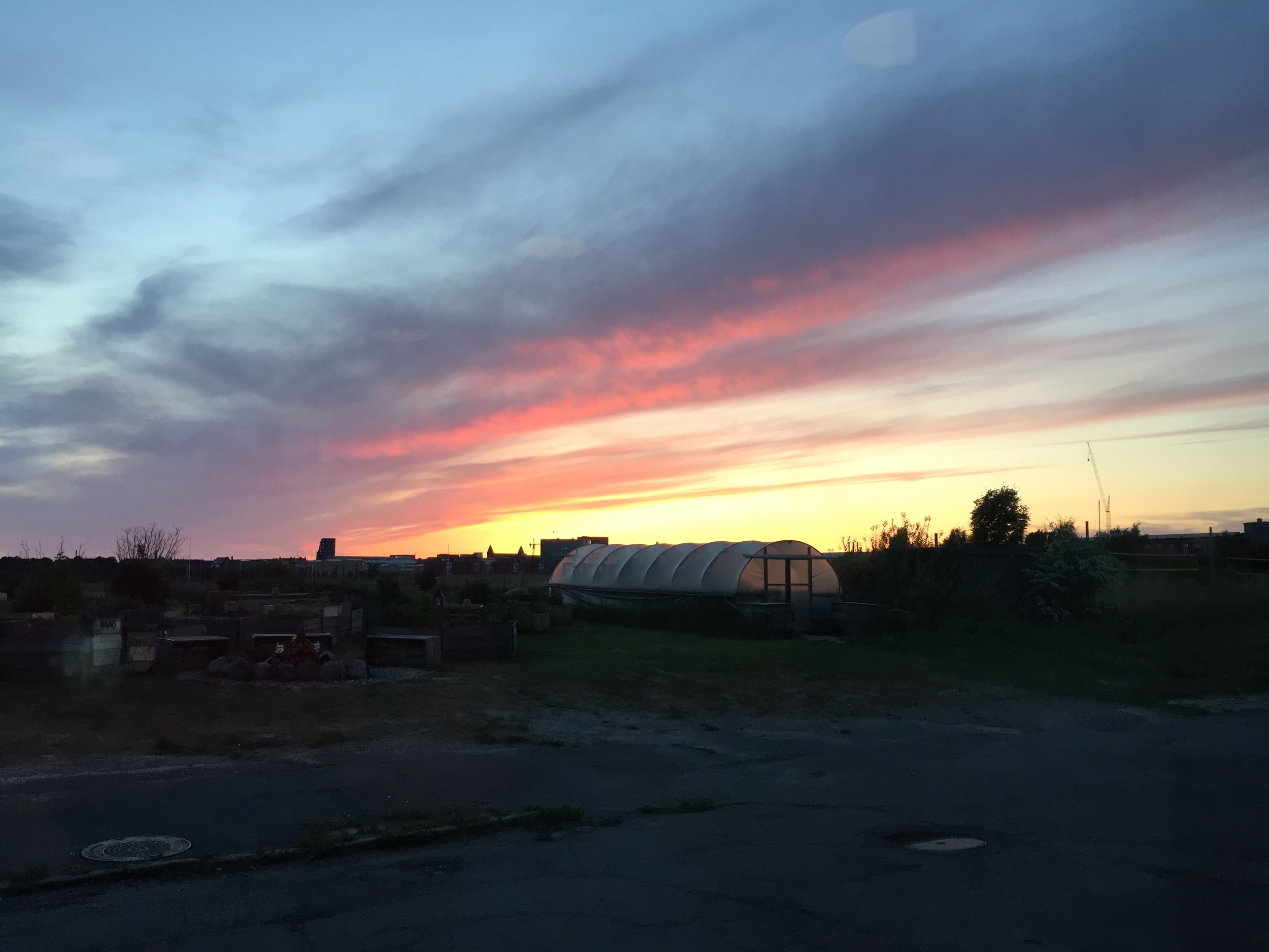 Sunset at 10 pm at Amass, a farm-to-table restaurant