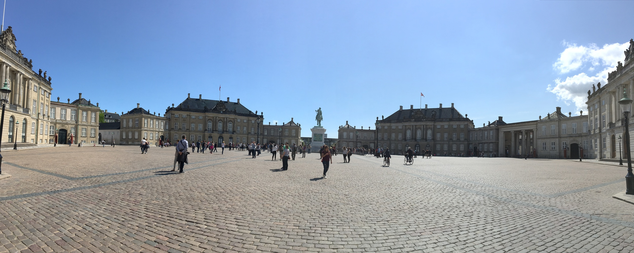 Amalienborg Palace, where the Royal Family lives. The Crown Prince and his family live in the left building, the Royal Mother to the right. The changing of the guards takes place to the right side of this plaza.
