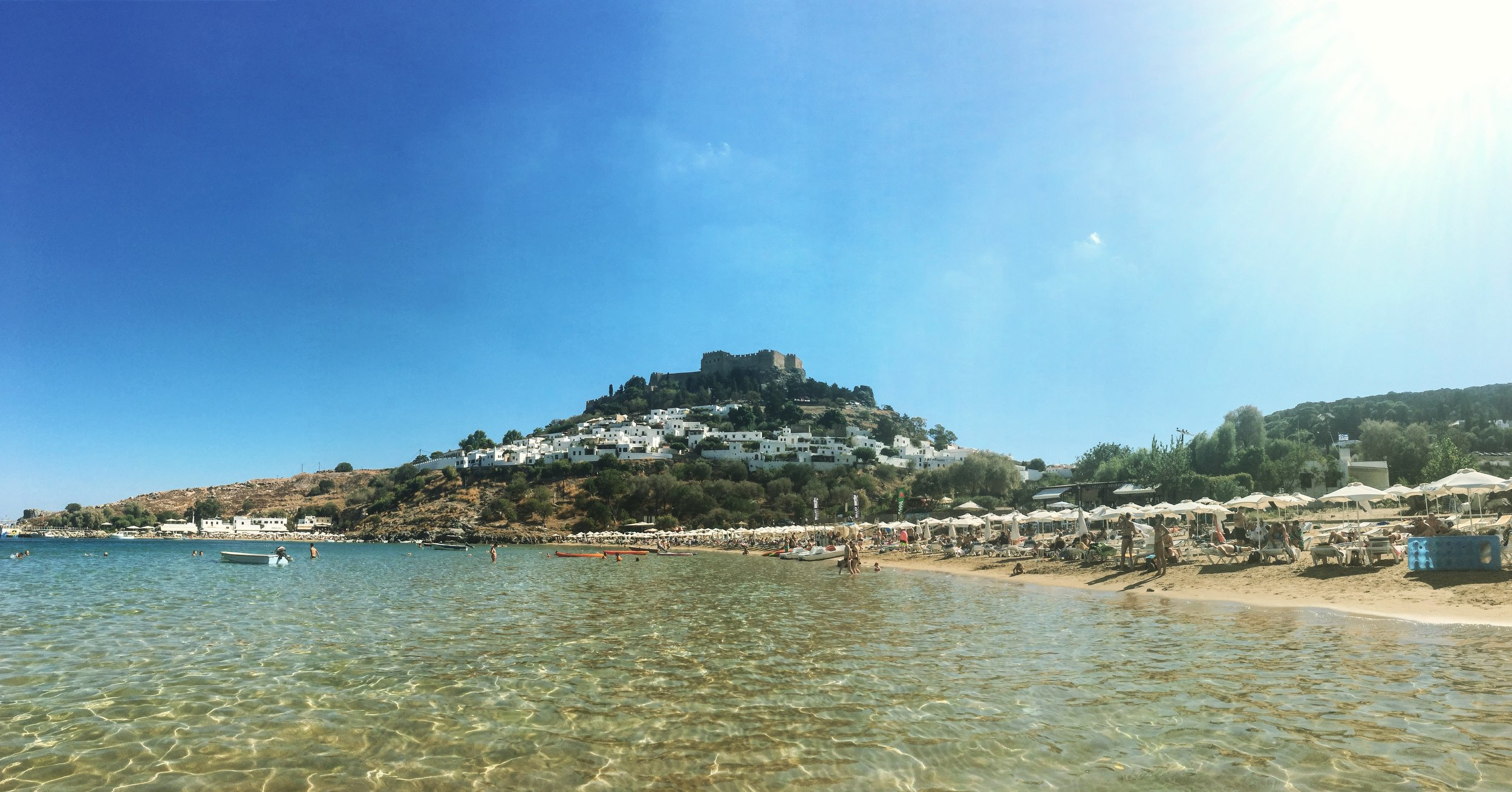 The beach in front of Lindos town and below the Acropolis