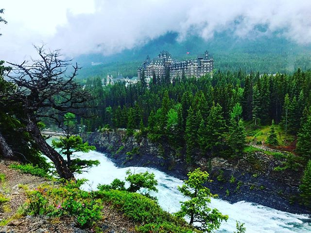 A River Runs Through It // First day in Banff was marred by clouds and rain but making the best of what views I can find! #canada #banff #river #cloudy #vacation #nature #rain #nationalparks #fairmonthotel #hiking #optimism