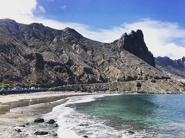 Magical black sand beach at La Playa Almaciga // Worth the drive from Santa Cruz and over the Anaga Mountains  #blacksandbeach #tenerife #canaryislands #laplaya #instatravel #trueblue #spain #tlpicks #nature #beachplease #september