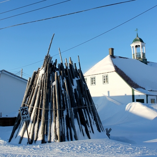 An unconventional woodpile in front of the Moravian Mission Complex.