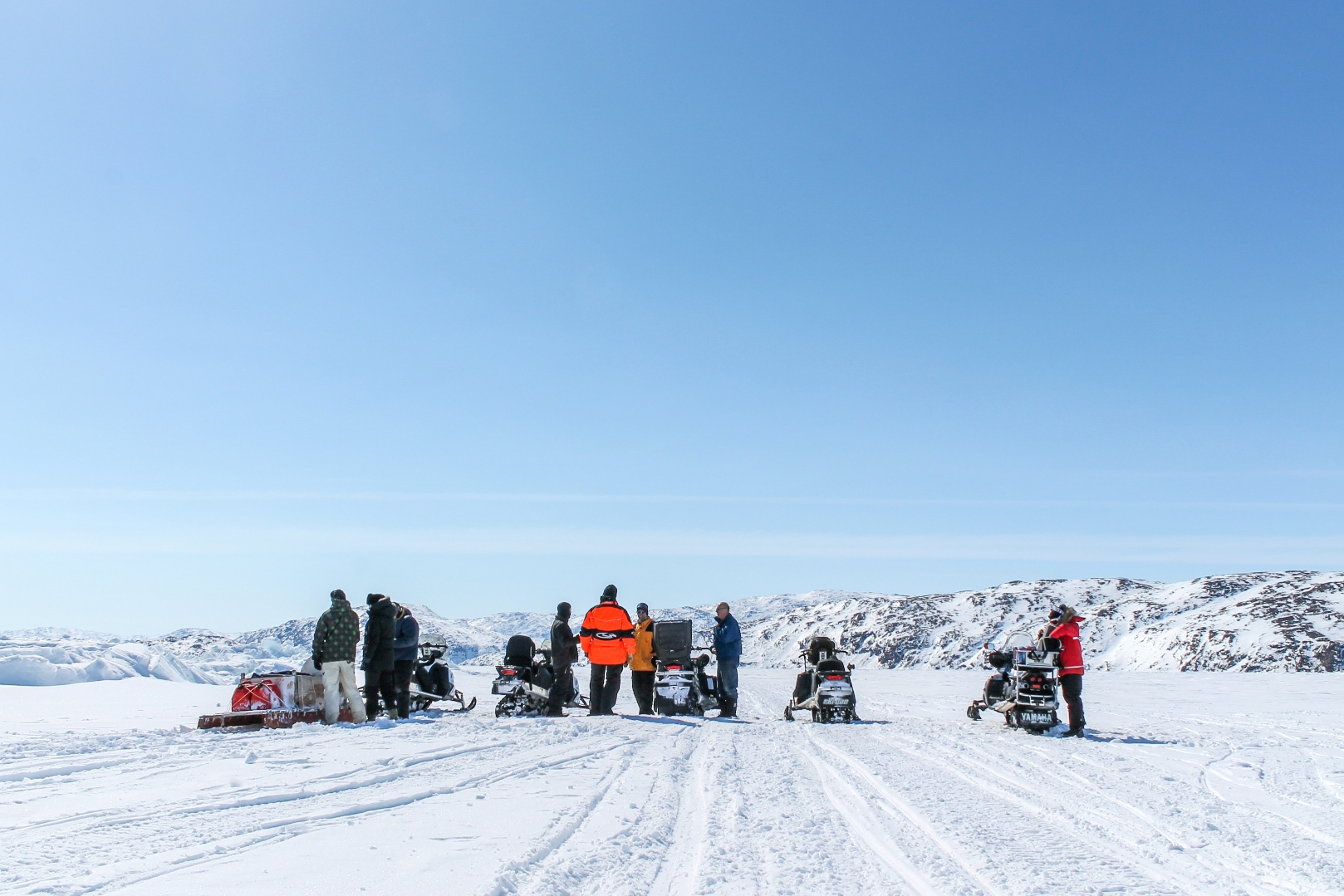 The team getting ready to hit the open road - err - sea ice.