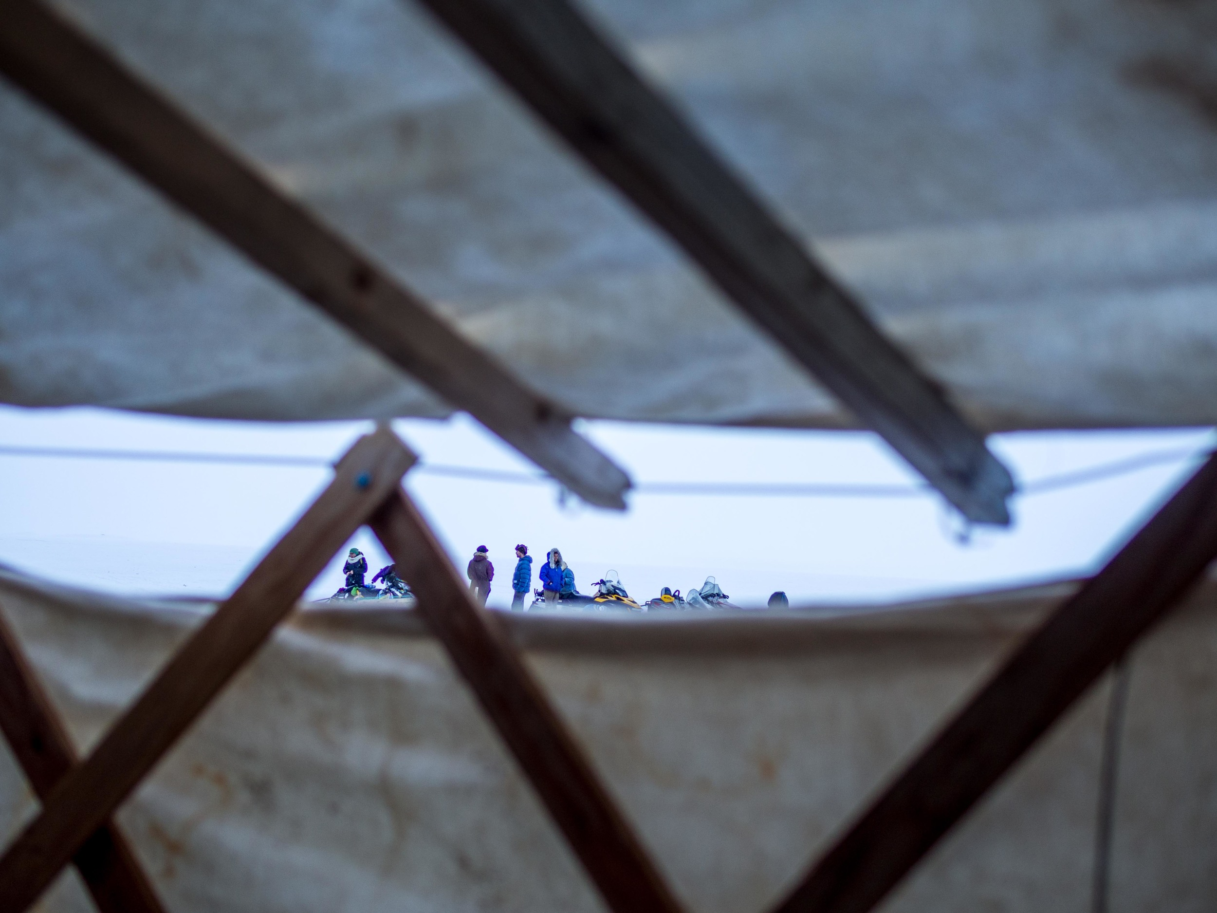 Peering out from the yurt to the brightness of the world north of 60. Photo by Anubha.