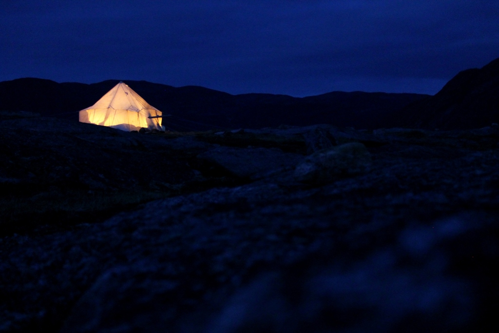 Camping 100 kilometers down the bay from Iqaluit.