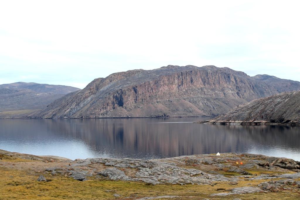 Camp Prospecta Incognita, dwarfed by Nunavut's massive landscape.