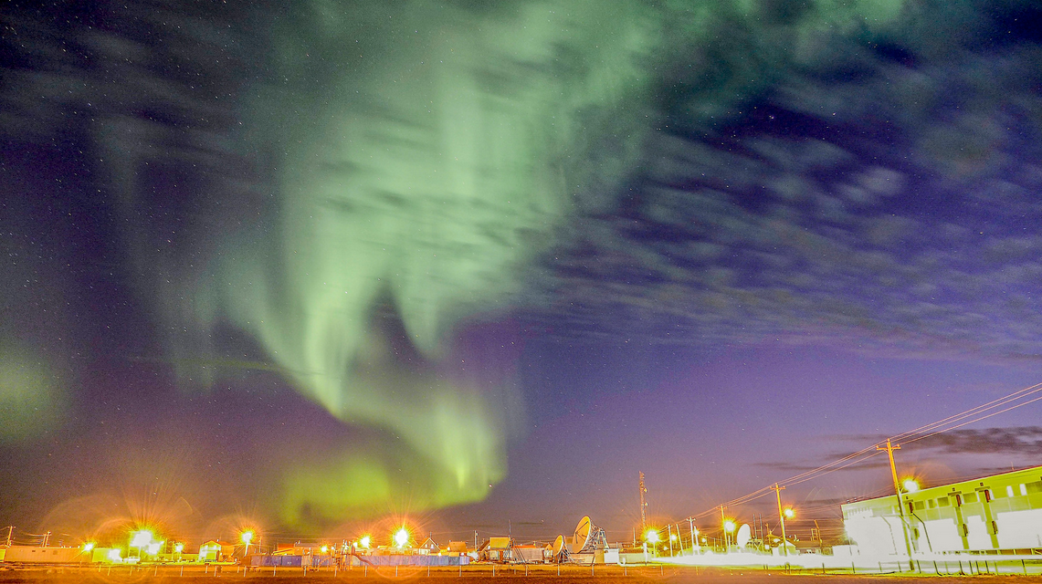 Arviat at night. https://www.flickr.com/photos/canadianson/9485234140/player/