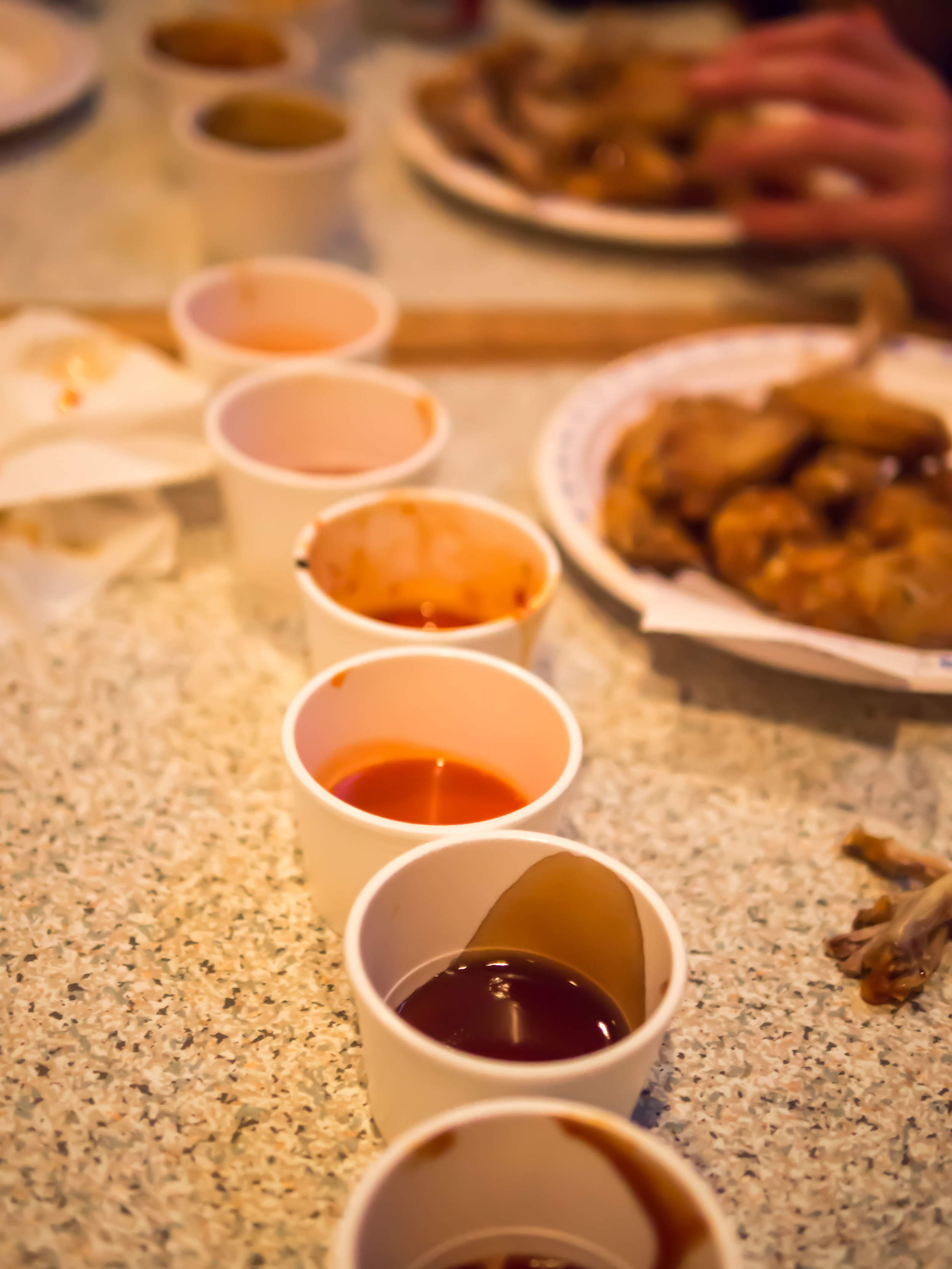 DIY (dip it yourself): Sampling each of the Legion's six wing sauces.