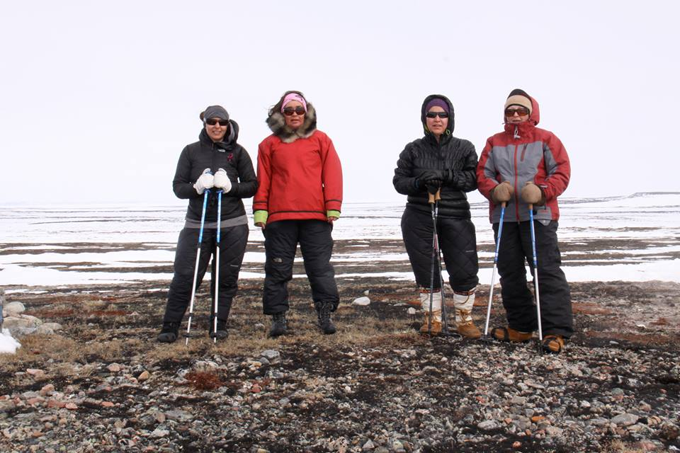 Mike, second from left, with the Women in Action, Steps for Life group that  walked from Hall Beach to Igloolik  to raise money for cancer research. Photo courtesy of Jesse Mike/Facebook.