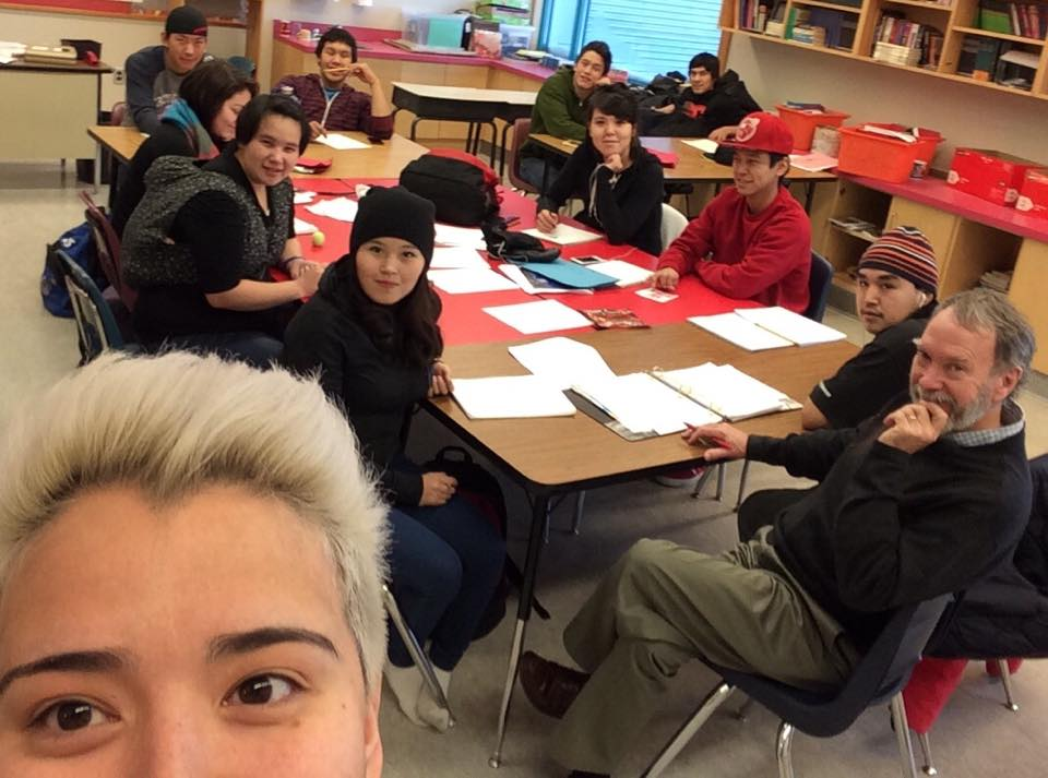 Mike visiting a classroom in Kugluktuk. Photo courtesy of Jesse Mike/Facebook.