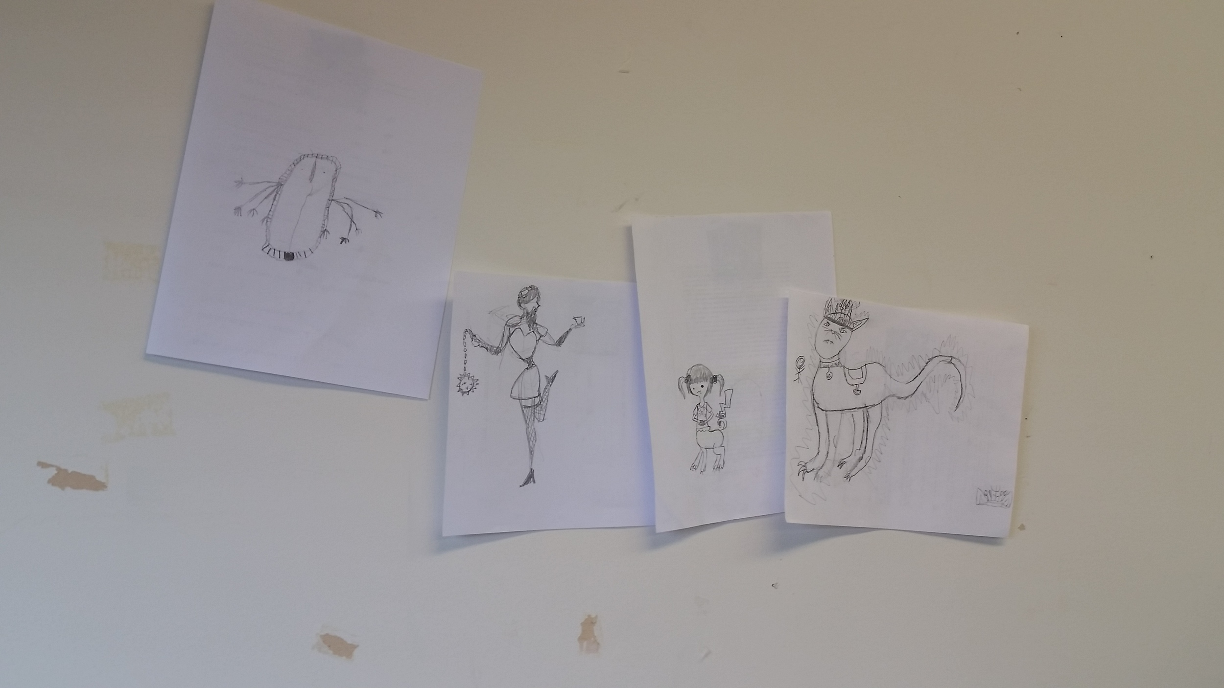 Final sketches for each of the four characters. Photo by Pascale Arpin.