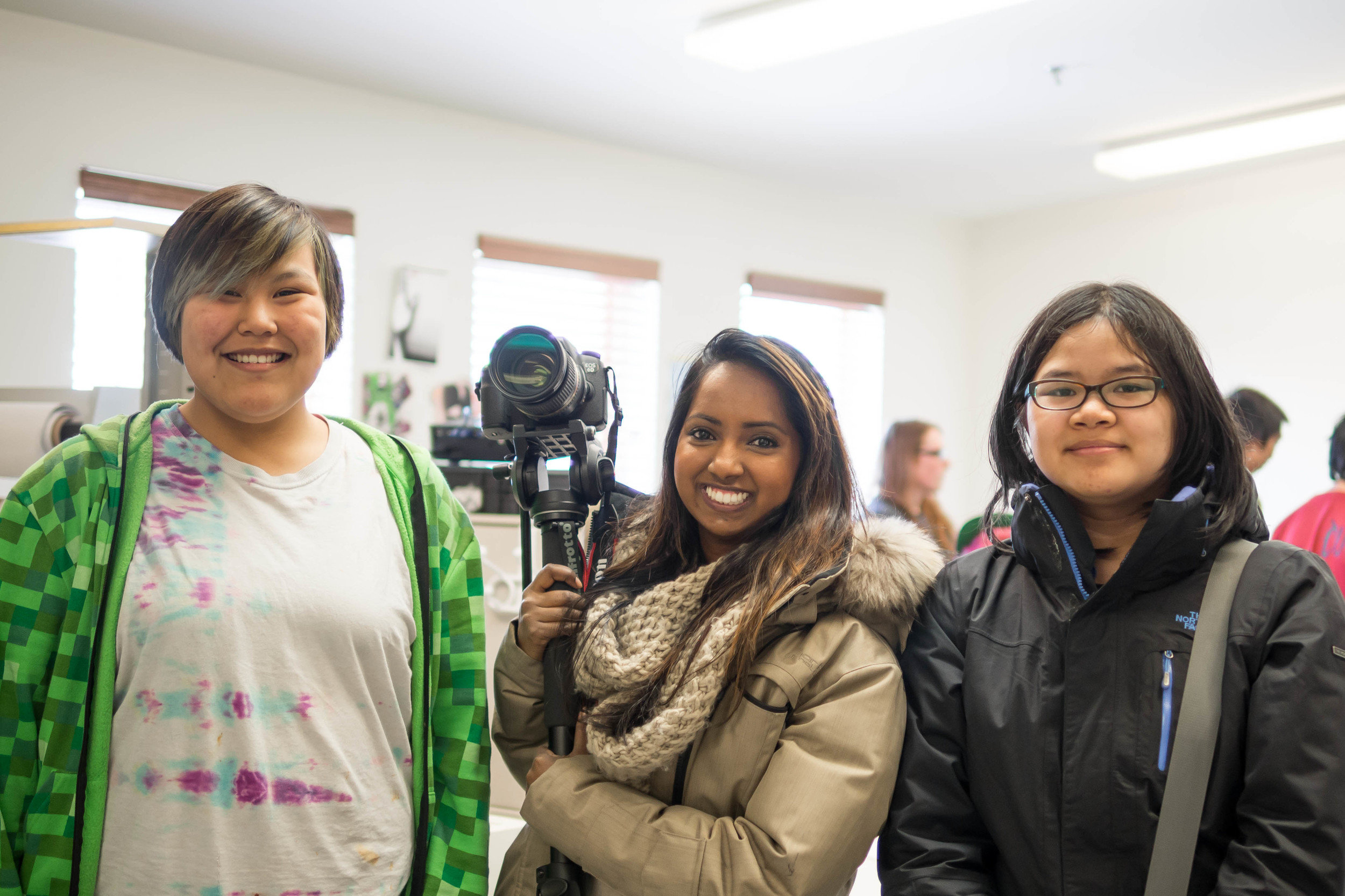 Look at those smiles! Three of the Character Animation Workshop participants. Ages unknown. Photo by Anubha.