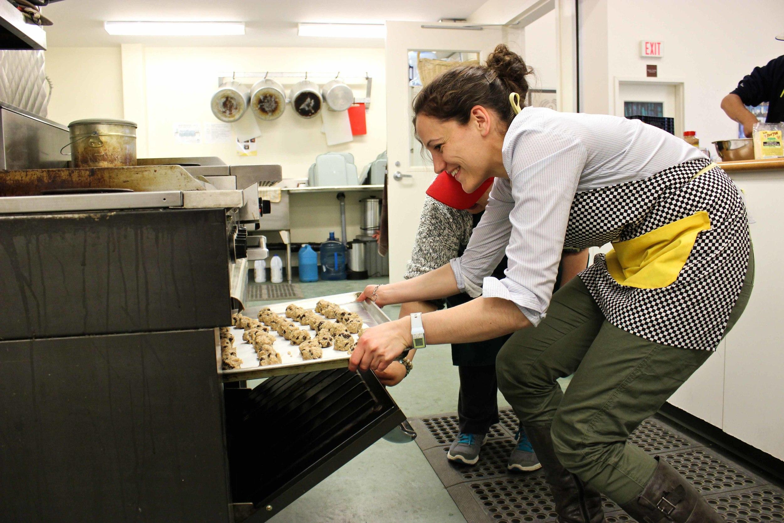 Volunteer extraordinaire, Arielle, baking a batch of cookies for dessert. Photo by Sarah Brandvold.