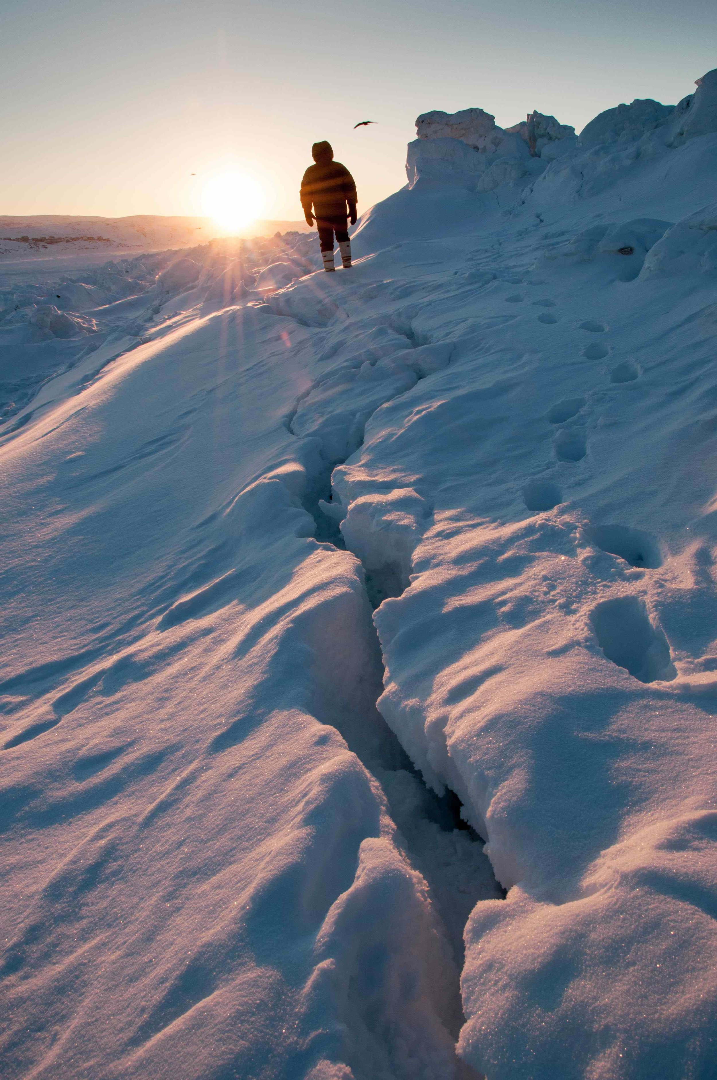The strong winds dropped the wind chill down to -42C, as we waited for the sun to rise. Photograph by Pamela Wood.