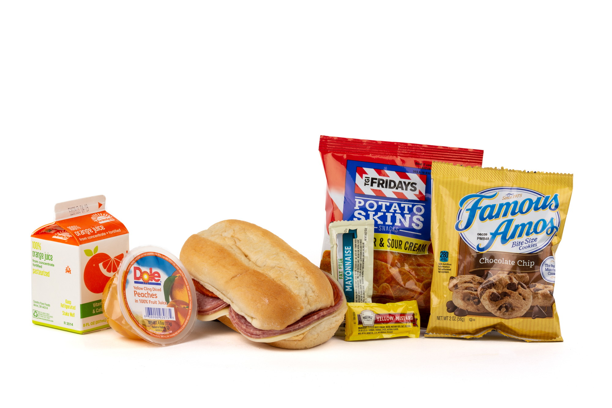 FK03 - Italian Submarine - Frozen NAPA 894001E608179  Sandwich - Italian Submarine Frozen Chip Potato TGIF Cheddar Sour Cream Diced Peach Cup Cookie Choc Chip Famous Amos Frozen Orange Juice Mayonnaise Packet Fatfree Dressing Mustard Packet Candy Mint Starlight Spearmint