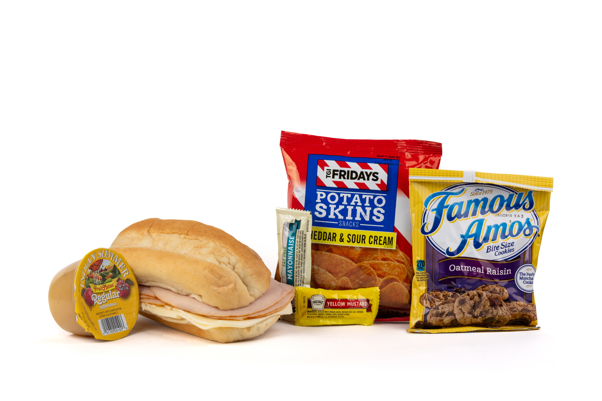 FK02ND - Turkey/Swiss Sandwich - Frozen NO DRINK NAPA 894001E619563  Sandwich - Turkey/ Swiss on Sub Bun Frozen Chip Potato TGIF Cheddar Sour Cream Applesauce Original Cookie Oatmeal Raisin Famous Amos Mayonnaise Packet Fatfree Dressing Mustard Packet Candy Mint Starlight Spearmint