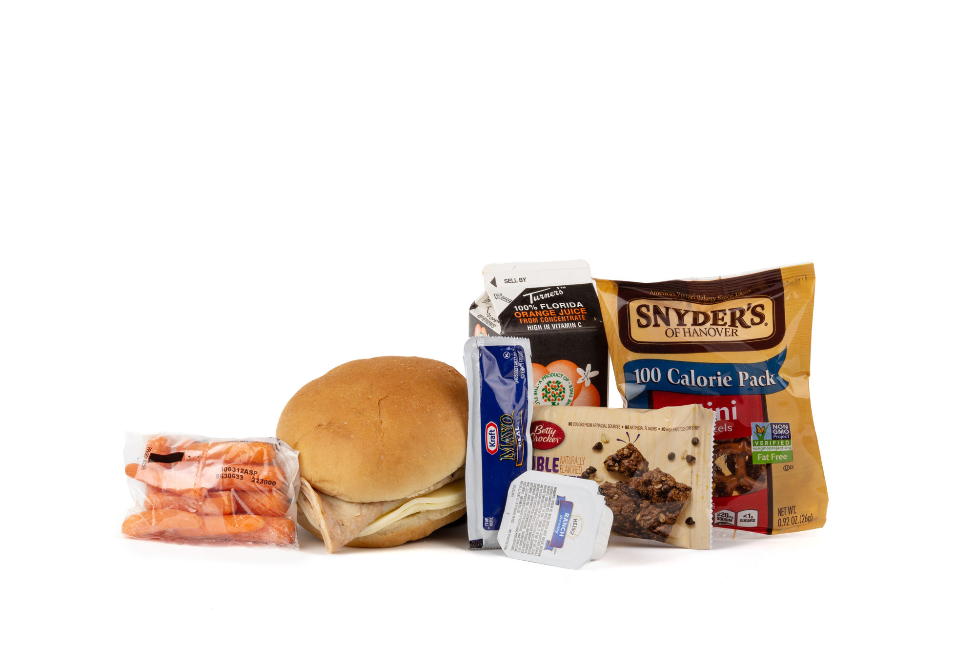 MK01 - Fresh Chicken Rotisserie  Rotisserie Chicken/ Provolone Cheese on Bun Fresh Baby Carrots Ranch Dressing Cup Mayonnaise Packet Pretzels Double Chocolate Oatmeal Bar Orange Juice