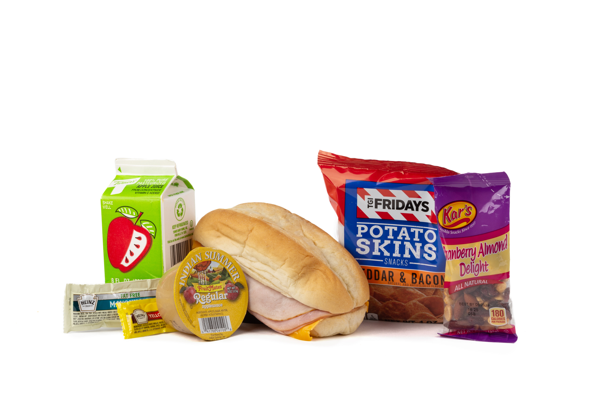 MK04 - Fresh Turk Ham Cheese  Smoked Ham/ Turkey Breast/ Cheese on Hoagie Roll TGIF Potato Chips Applesauce Cup Trail Mix Cranberry Almond Delight Mustard Packet Mayonnaise Packet Fat Free Apple Juice