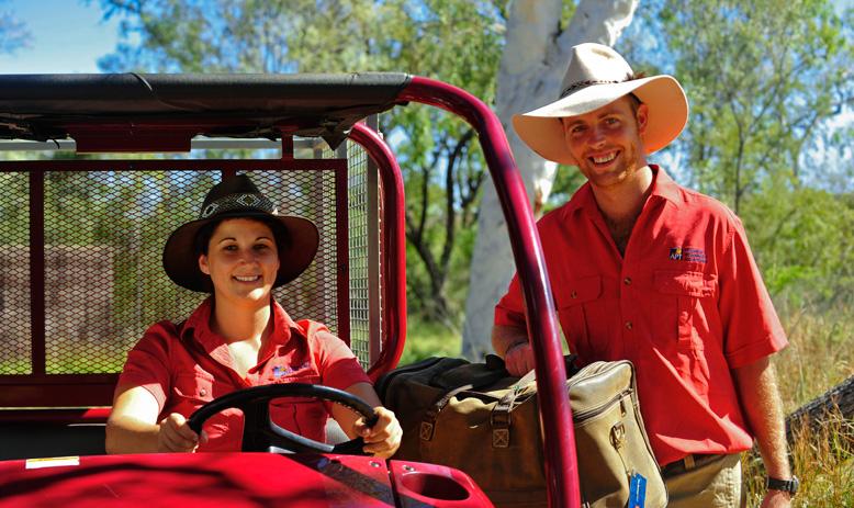 Australia_WA_Kimberley_Bungle Bungles_Lodge hosts in a vehicle at the Wilderness Lodge_APT_BunglesCamp69_LLR.jpg