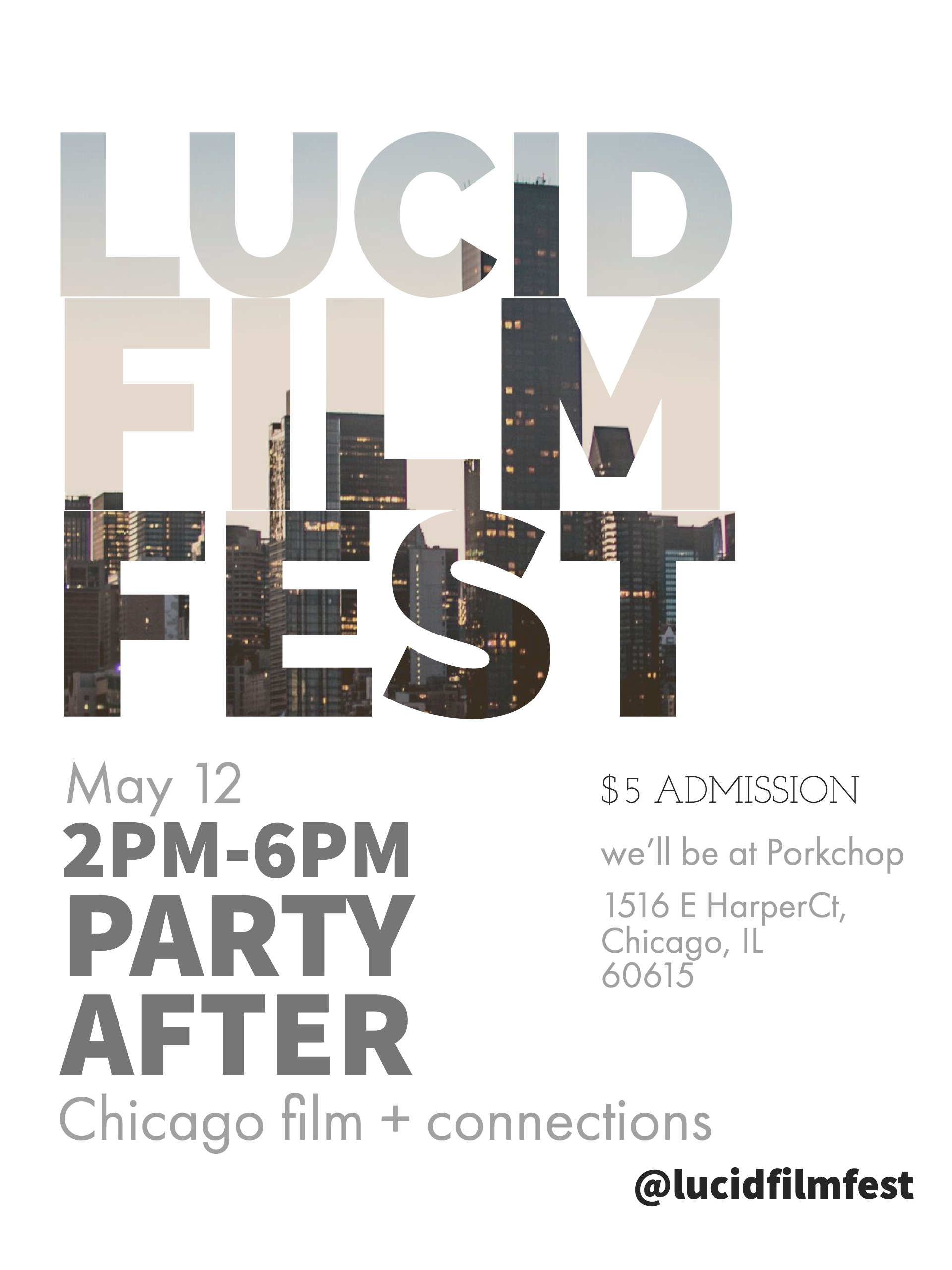 We want to stand out.  - This won't be your typical film festival. This will be an opportunity for artists with all levels of experience and backgrounds will be able to come together to eat good food, drink from a special event menu, celebrate each other's work, and make connections.  Check out and like our Facebook page @LucidFilmFest. Contact LucidFilmFest@gmail.com with any questions.