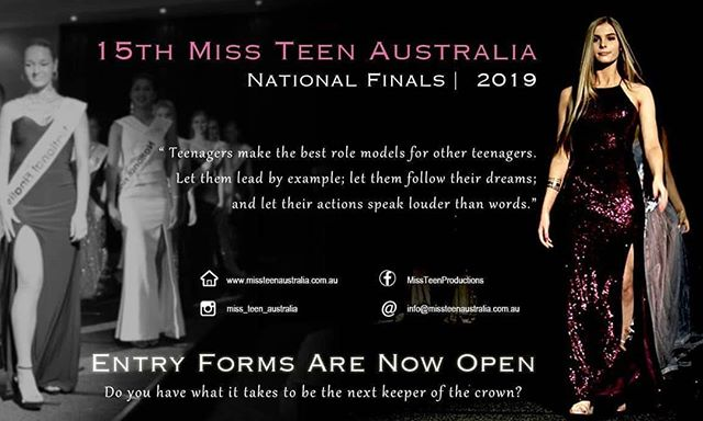 Miss Teen Australia Gladstone Burnett Regional Finals, to be held the weekend of 6th & 7th April.  Enter at www.missteenaustralia.com.au  More information about the Gladstone event can be found at https://www.facebook.com/events/794233617577592/
