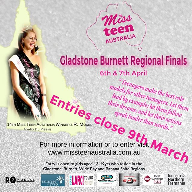 Entries for this years Miss Teen Gladstone Burnett Regional Finals are closing on 9th March, have you entered yet?  Entry is open to girls aged 13-19yrs who reside in the Gladstone, Burnett, Wide Bay and Banana Shire Regions.  To enter or for more information pop over to www.missteenaustralia.com.au  #r7model #r7 #mta #missteenaustralia #gladstoneregion #gladstonefinals