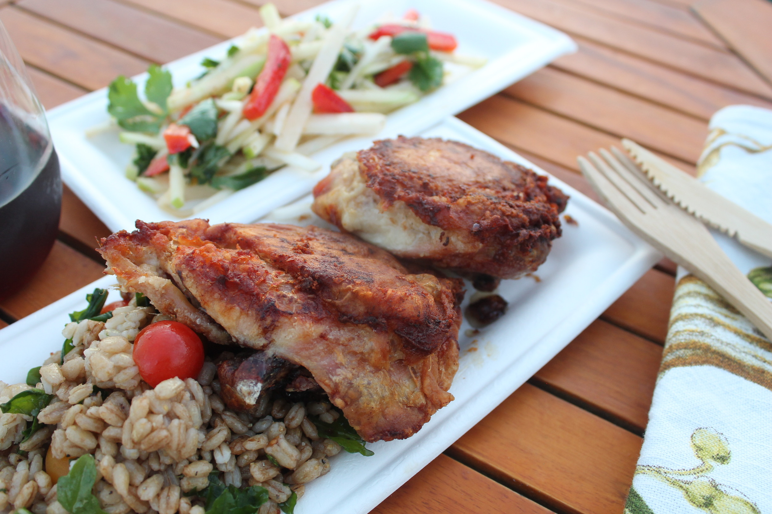 Oven Fried Chicken with Farro and Cherry Tomatoes Served with Jicama, Red Bell Pepper and Green Apple Slaw