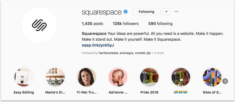 Squarespace uses Instagram Highlights to showcase different features and special events.