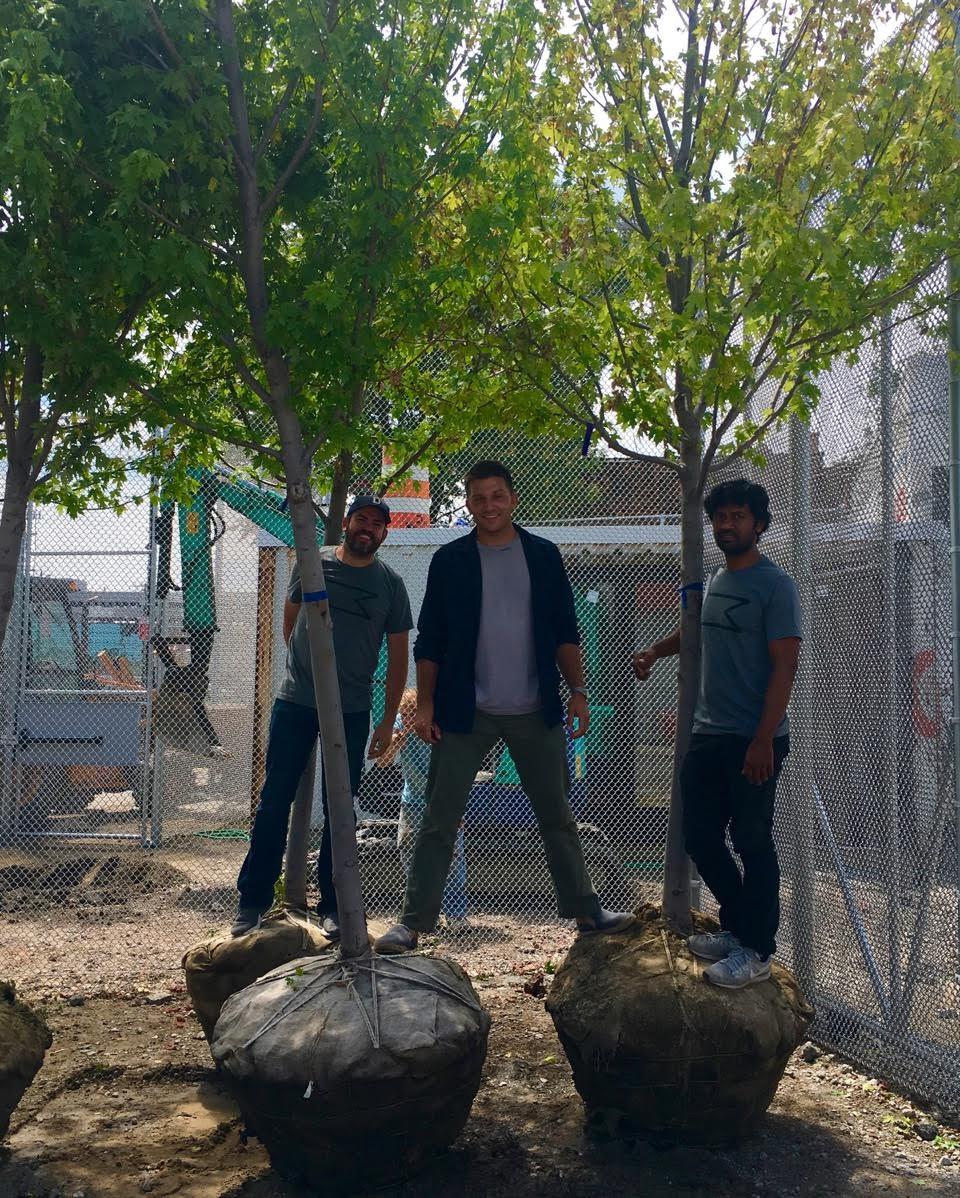 Chef Brad Greenhill (TAKOI and MAGNET), PK and Ish planting trees at TAKOI.