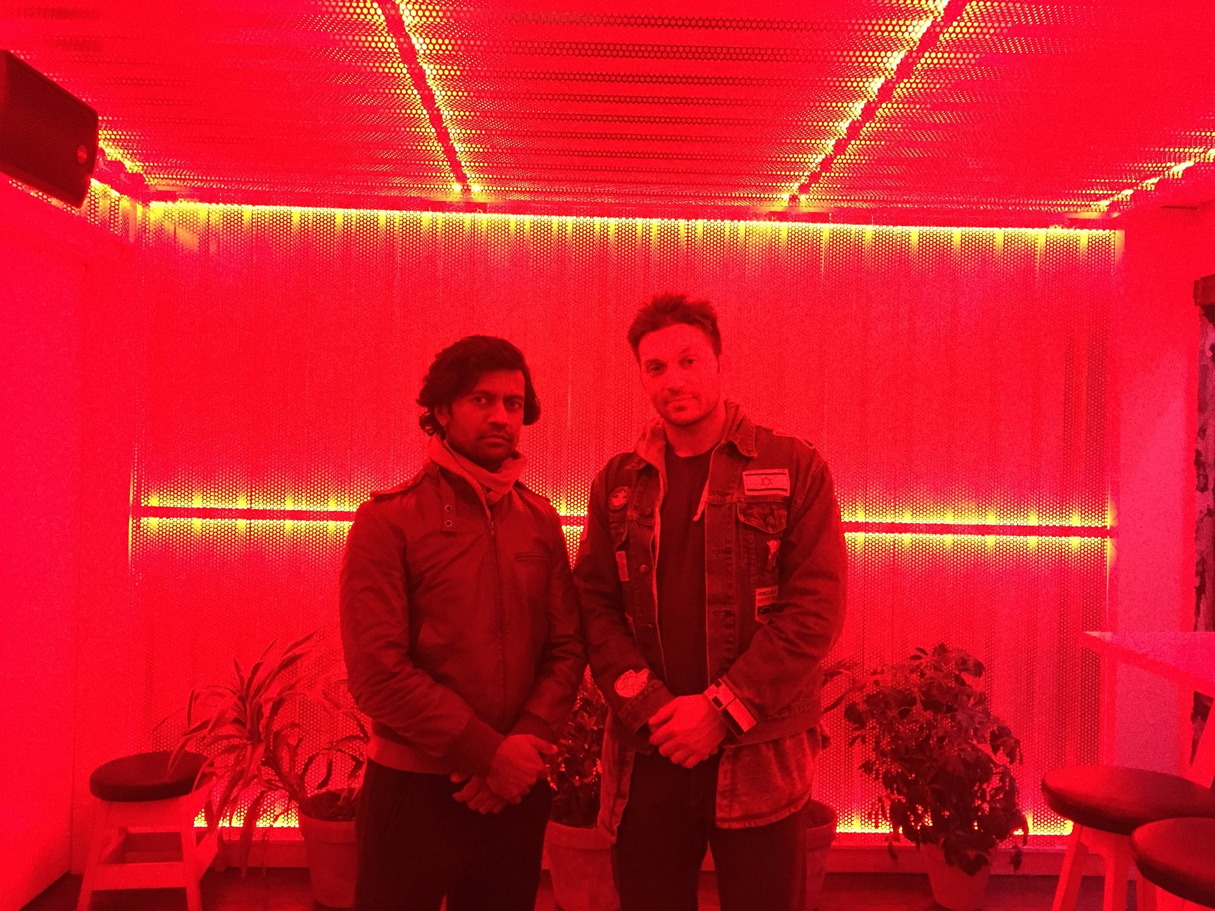 Ish and PK in the Green Room at TAKOI.