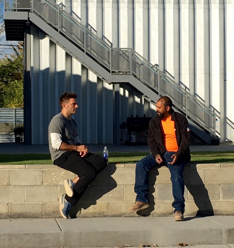 """PK and VC devising a game-plan on the """"stoop"""" of True North."""