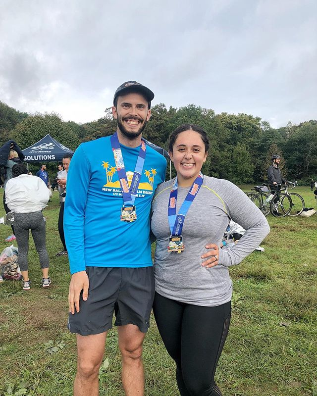 When your husband barely sweats when running at your pace, you get him to be your pacer at the #BrooklynHalfMarathon and reward him with taco night where he has to cook everything 🏃🏻♀️🌮 Thanks for today, bubba 😘
