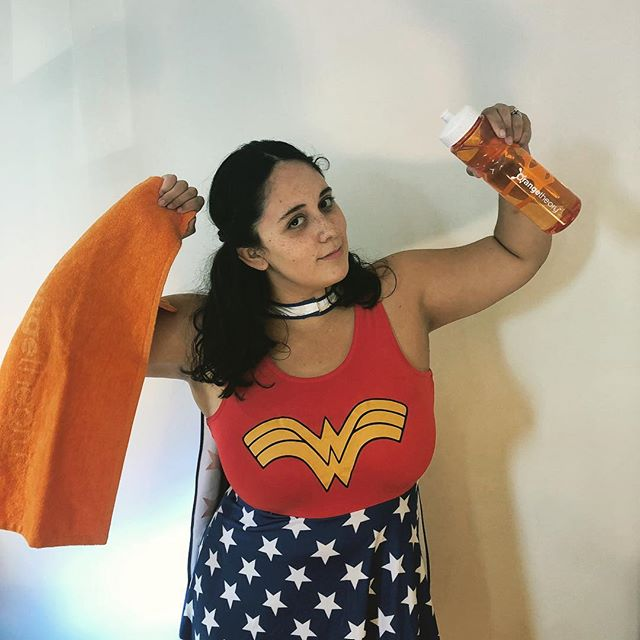 Yes, I'm bringing back Wonder Woman this year 🌟💪🏻 #otfjchalloween2018  I love @otf_jerseycity because I am inspired to expect nothing but the best from myself. And I've learned that I'm my own limit, which I was reminded of when I managed to run a half marathon under my goal pace doing OTF a couple of times a week! It also helps that I'm able to workout with my husband @nathan_brown_10 without slowing him down (seriously, my all-out pace is his base and he maxes out the treadmill speed) 🏃🏻♀️🏃🏻♂️