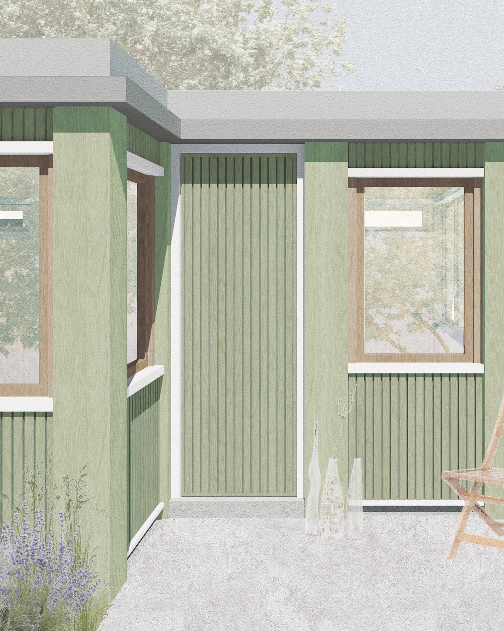 The Beeches.  Earley, Reading  Clad internally and externally in timber, this studio for a ceramist blends into its surrounds.