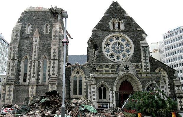 Christchurch Cathedral after the 2011 Earthquake