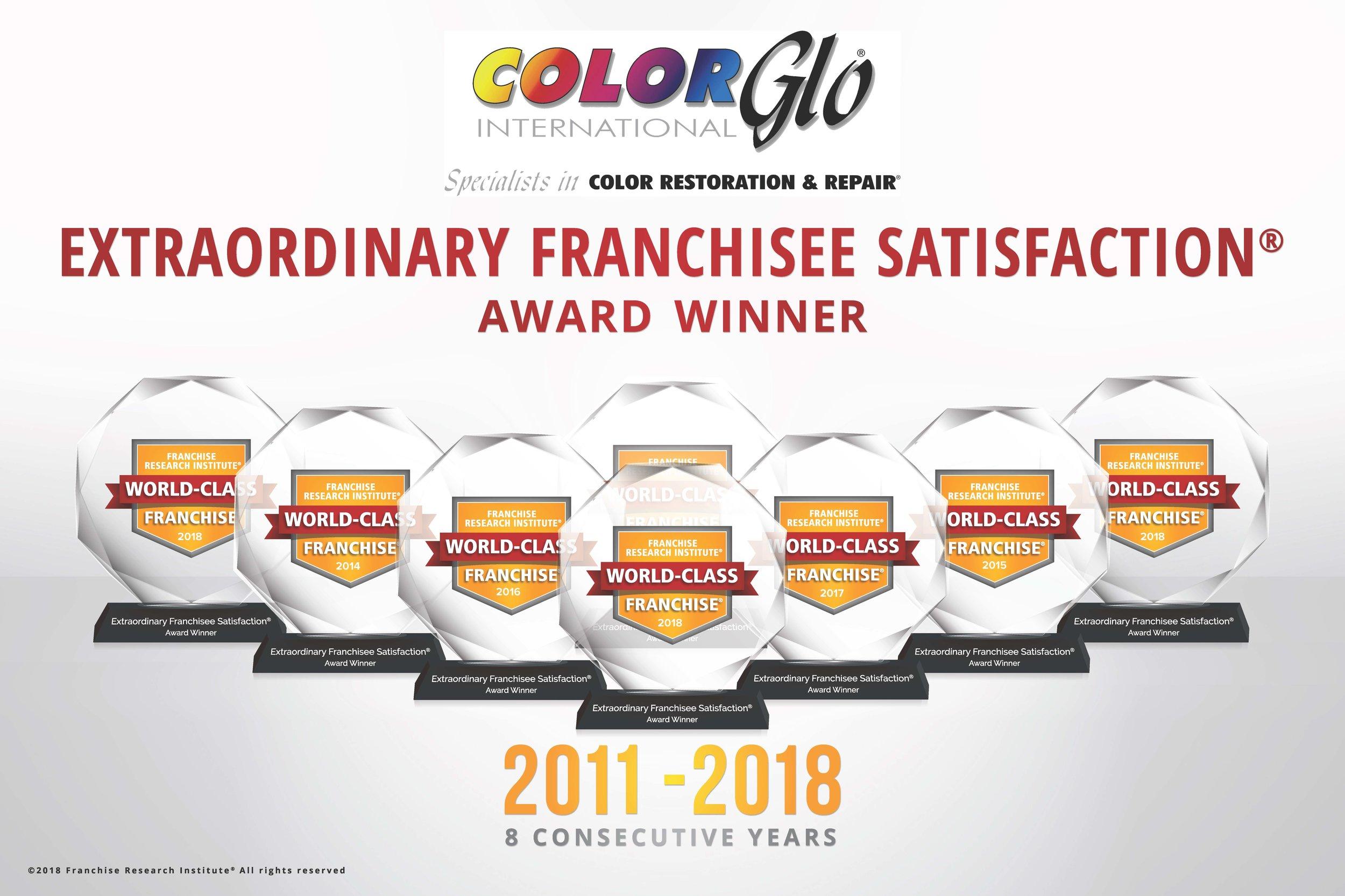 Color Glo International. Extraordinary Franchisee Satisfaction Award 2018