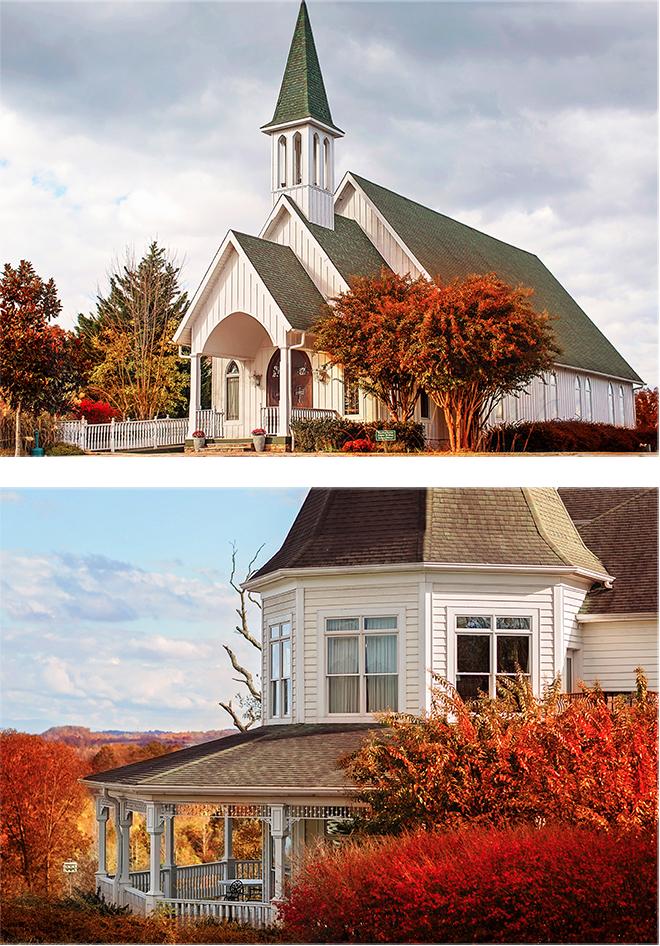 The beautiful chapel and inn at Whitestone Country Inn.