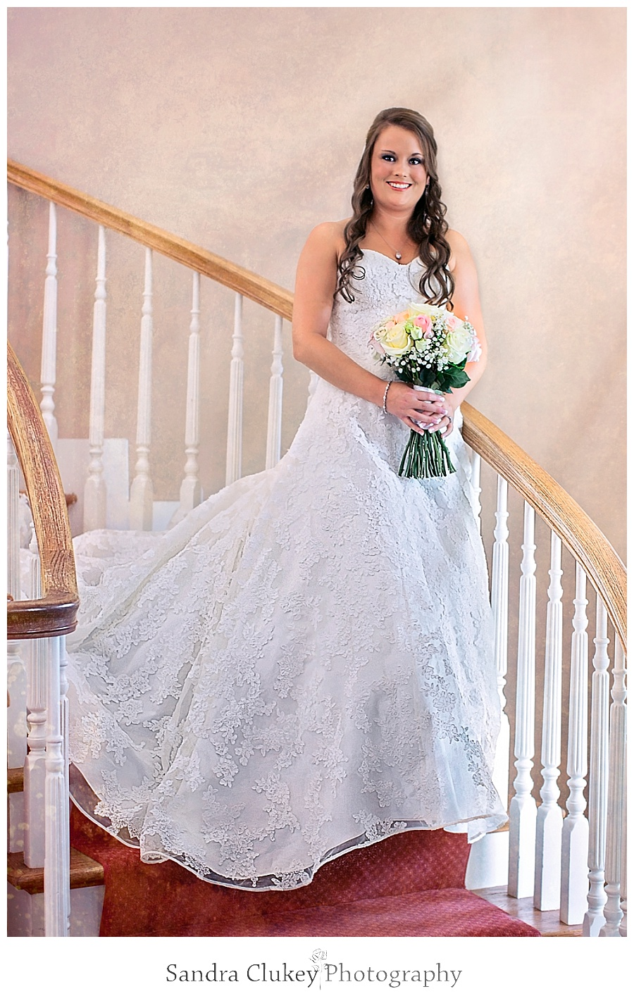 Beautiful Bride on Stairs at Whitestone Inn