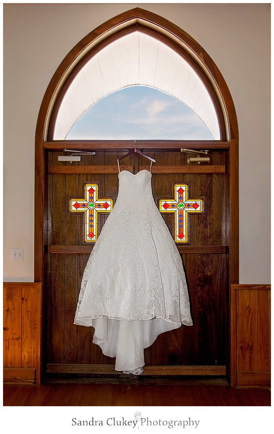 Bridal Gown on Church Doors