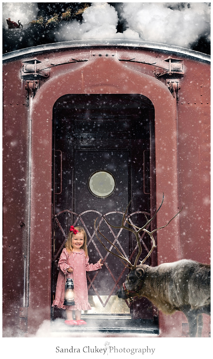 Happy child sees reindeer