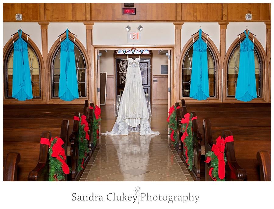 Wedding dress in chapel