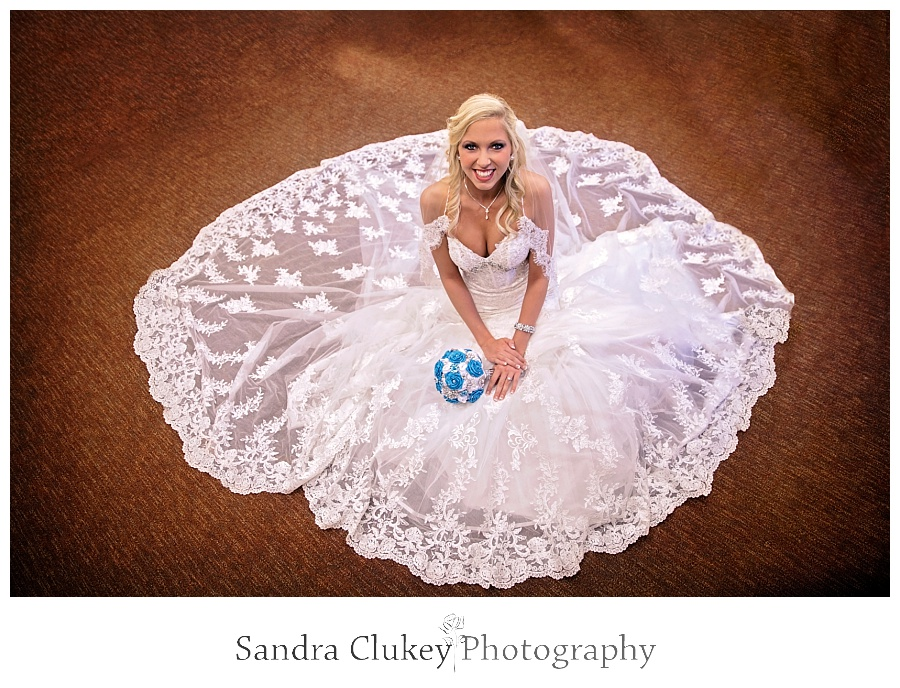 Stunning bride with blue bouquet