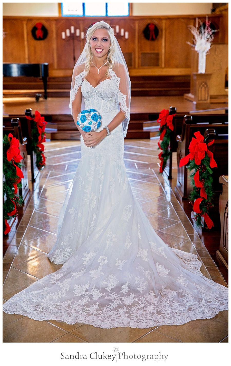 Dazzling bride in chapel
