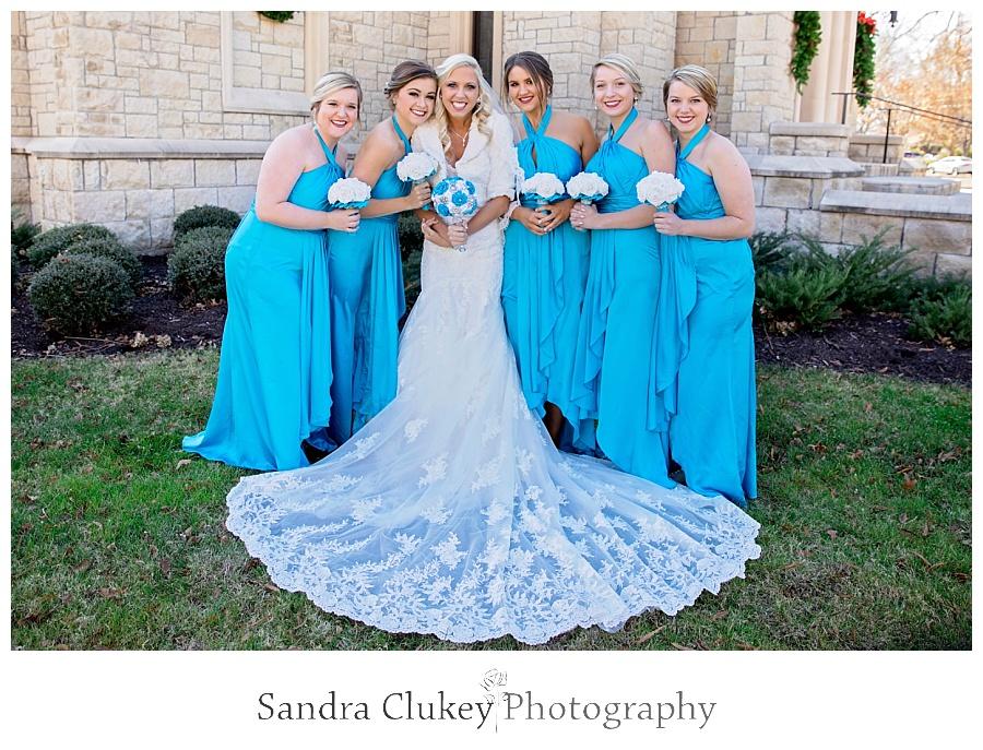 Bridal party outside Lee University Chapel