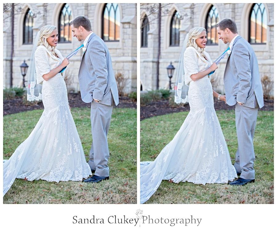 Bride pulls groom towards her