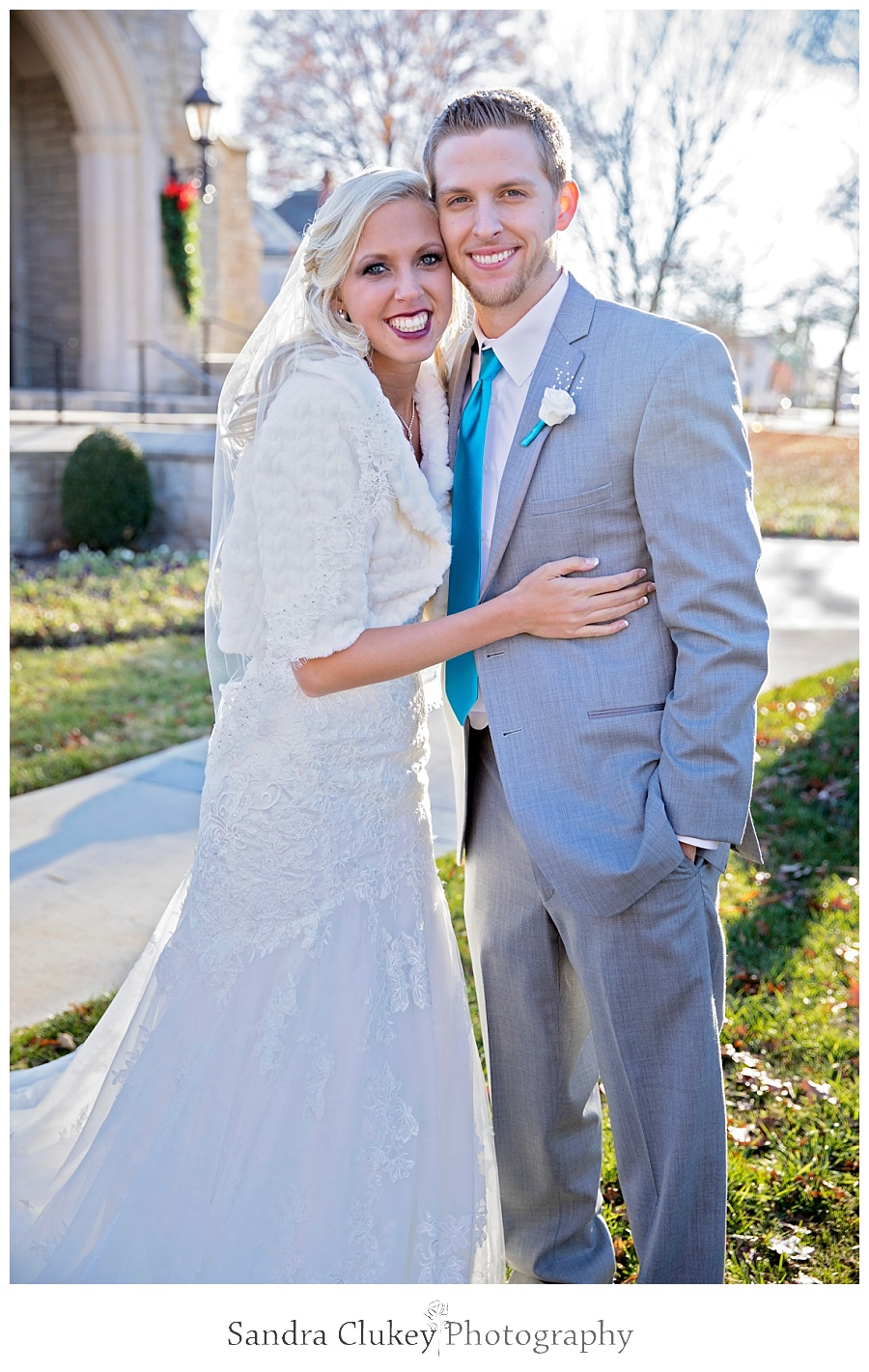 Precious Bride and Groom portrait in front of Chapel